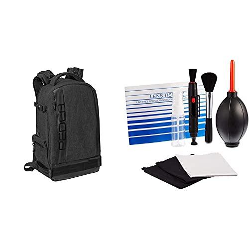 PEDEA DSLR-Kamerarucksack Fashion Fotorucksack für Spiegelreflexkameras mit wasserdichtem Regenschutz, schwarz & Amazon Basics - Reinigungsset für DSLR-Kameras und empfindliche elektronische Geräte