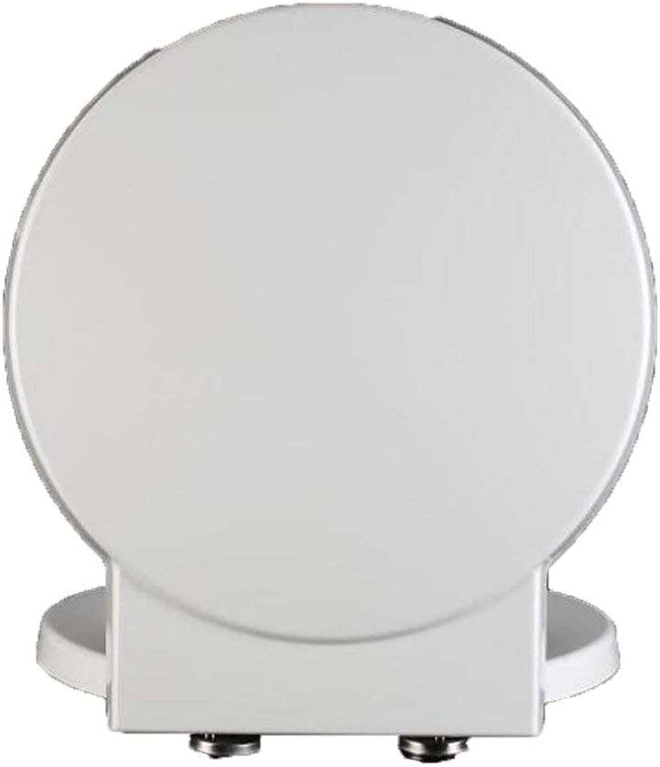 Toilet Seat Toilet Seat Toilet Lid With Antibacterial Urea-formaldehyde Resin Mute Thicken Toilet Seat Cover For Round Shape Toilet Anti-Bacterial Toilet Seat (color   White, Size   41.1-45.7  40CM)
