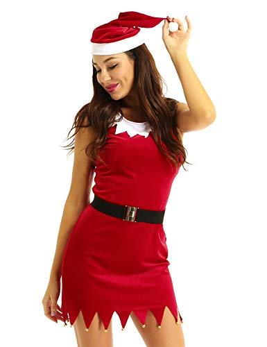 YiZYiF Weihnachtsmann Damen Kostüm Mrs.Santa Claus Cosplay Outfit - sexy Minikleid Weihnachtskleid mit Zick-Zack Design, Weihnachtsmütze, Gürtel Rot Small