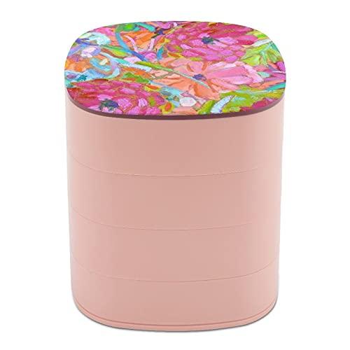 Rotar la caja de joyería, caja de almacenamiento de joyas de 4 capas, rotación de 360 grados, caja creativa para anillos, pendientes, collar, broche, baratijas, rojo coral rosa zinnias