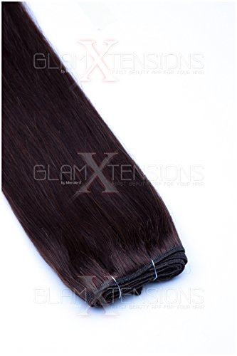 Weft Extensions Echthaar Tresse GlamXtensions glatt 100% Remy indisches Echthaar Human Hair - 80cm in der Farbe #04 Schokobraun - Haarverlängerung Haarverdichtung zum Einnähen