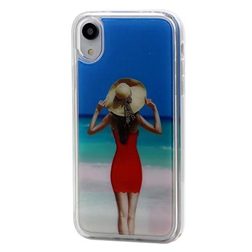 Keyihan iPhone telefoonhoes strand bikini skirt schoonheid schattige glitter stromende vloeistof vloeibare Shiny drijfzand beschermhoes Liquid Case Soft Edge Bumper voor Apple iPhone, iPhone 7 Plus/8 Plus, Rood zand