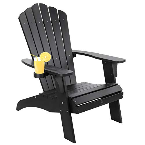 OT QOMOTOP Oversized Poly Lumber Adirondack Chair with Cup Holder, Fade-Resistant Lounge Chair with 350lbs Duty Rating, All-Weather Chair for Fire Pit & Garden, 38L 30.25W 41.5H (Black)