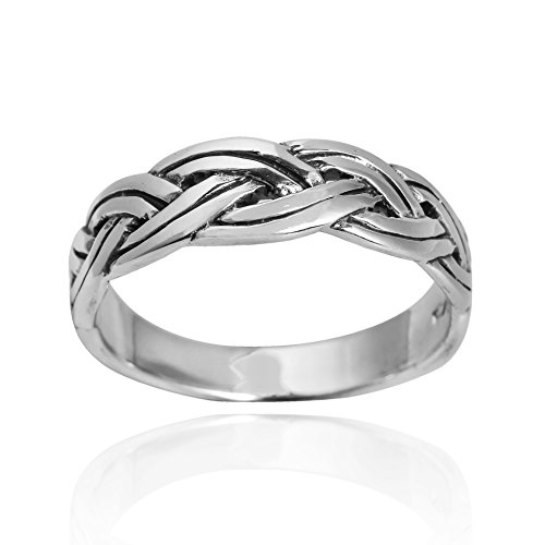 Modern Art Braided Celtic Knot Band .925 Sterling Silver Ring (7)