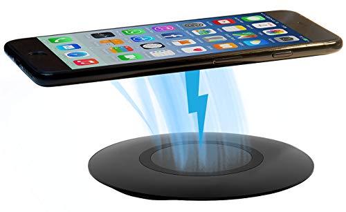 Callstel Wireless Ladestation: Extraflache Schnell-Ladestation mit Qi, 5-15 W, 5/9 V, Ø 10 cm (Qi-Schnellladegerät)