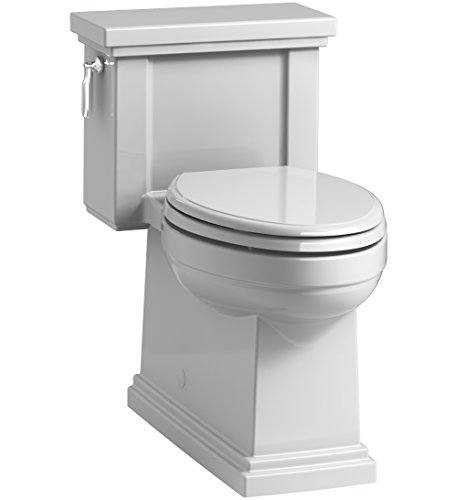 KOHLER K-3981-95 Tresham Comfort Height Skirted One-Piece Compact Elongated Toilet with Aquapiston Flush Technology and Left-Hand Trip Lever, Ice,Ice Grey