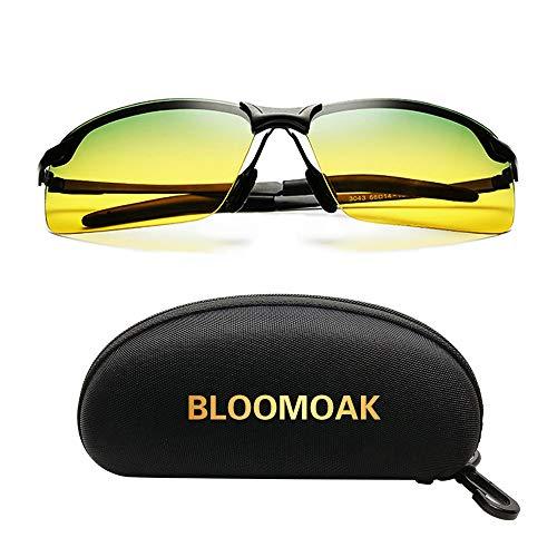 Bloomoak Polarisierte Nachtfahrbrille zum Autofahren Damen Herren -Nachtsichtbrille+ Sonnenbrille zum Autofahren Radfahren, Nachtbrille Autofahren mit UV400 Blendschutz, Ultraleichter Metallrahmen
