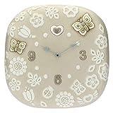 THUN - Orologio Tondo da Parete con Fiori e Farfalle - Living, Orologi - Idea Regalo - Linea Prestige - Ceramica; meccanismo Orologio in plastica - 42x42,3x5,8 cm