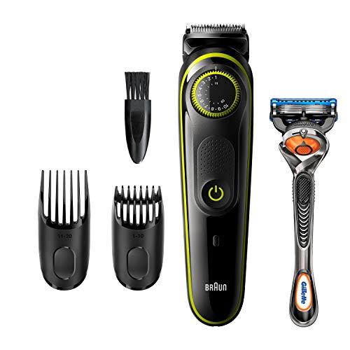 Braun Barttrimmer BT3241 Trimmer und Haarschneider für Herren, 39Längeneinstellungen, schwarz/volt-grün