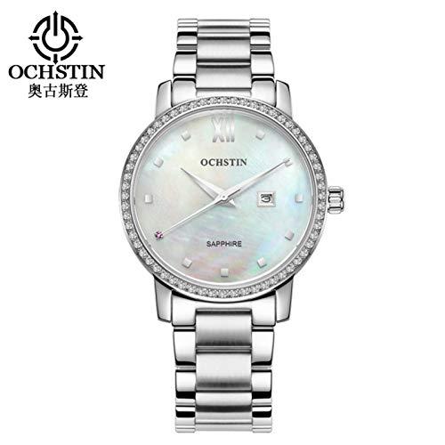 Reloj de pulsera de cuarzo resistente al agua con correa de acero inoxidable para mujer OCHSTIN de 2 colores, resistente al agua hasta 30 m, un regalo para ti, familias, amigos, etc.(blanco)