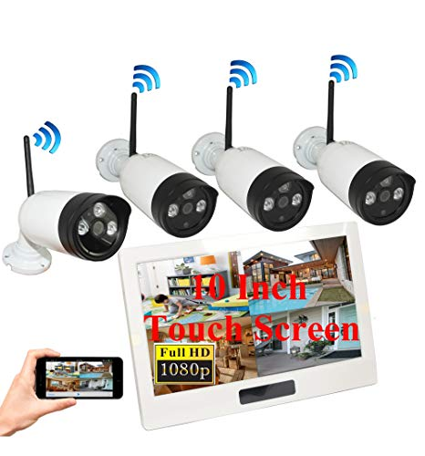 4UCam 1080P HD Digital Wireless Home Security Camera System 4CH 10 Inch HD Touch Split Screen LCD Monitor Indoor Outdoor 2.0 Megapixel Camera (4 Camera Set)
