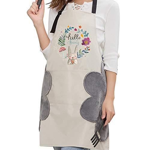 ZHONG AN Nuovi Grembiuli Regolabili con Design Asciugamano, Impermeabile, cucine, Grembiuli da Cartone Animato da Donna, 1 Pezzo (Bianco)