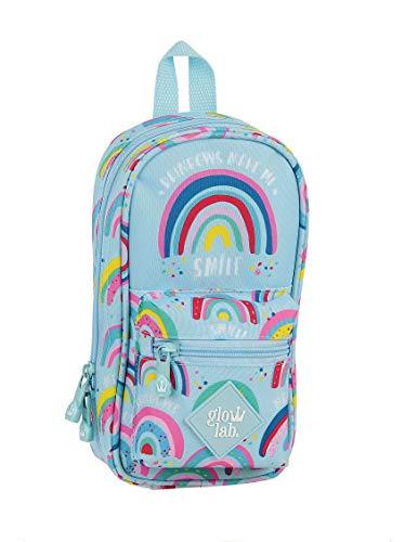 Safta 412033747 Plumier mochila 4 estuches llenos, 33 piezas, escolar Glowlab, Azul (Arcoiris)