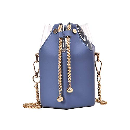 For Sale! Leaf2you Women's PU Leather Transparent Chain Bag Bucket Bag