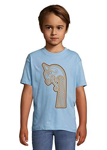 Luckyprint Viking Ship Dragon Front Heaven Kids Colorful T-Shirt 6 Year Old
