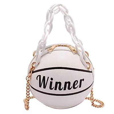 Women Girl Basketball Round PU Leather Handbag, WEYCNCRIUF Chain Shoulder Messenger Crossbody Bag Satchel Tote Purse
