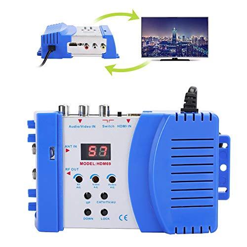 Modulador HDMI, convertidor Digital HDM69 AV a RF Modulador portátil estándar PAL/NTSC, frecuencia de Funcionamiento VHF/UHF, Salida de Formato de TV NTSC y PAL (EU 100-240V)
