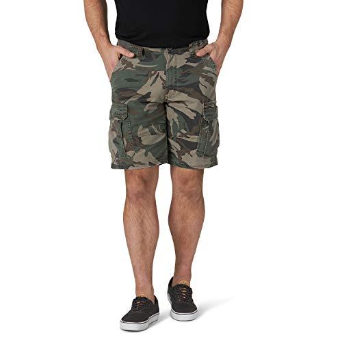 Wrangler Authentics Men's Classic Relaxed Fit Stretch Cargo Short, Green Camo, 36