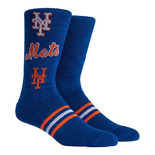PKWY Unisex 1-Pack MLB New York Mets Crew Socks (Large (Men's 6-12/Women's 8-12), Stacked Crew)