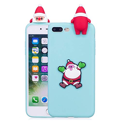 LAXIN Compatible with iPhone 7 Plus / 8 Plus Case Silicone 3D Cute Pattern [Santa Claus] Girly Matte Cover Protective Ultra Thin Slim Bumper One Piece Shockproof for Girls Boys Men Women