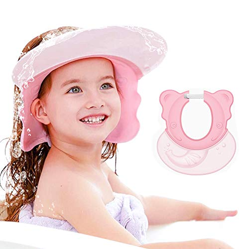 Shower Cap Baby Bath Visor Adjustable Hair Washing Aids for Kids Adult Shampoo Shield Pink for Girls Toddler Shower Hat Silicone Large Waterproof