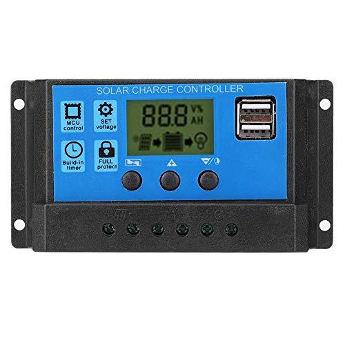 Regolatore di carica solare, controllore per pannello solare 12V 24V PWM Regolatore del pannello solare Accessorio del regolatore del pannello cellulare(20A)