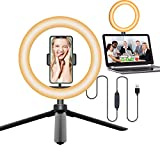 Selfie Computer Ring Light Laptop with Tripod Stand for Video Conference Zoom Meeting Calls, Circle Tabletop Ringlight for Video Live Stream Makeup Photography