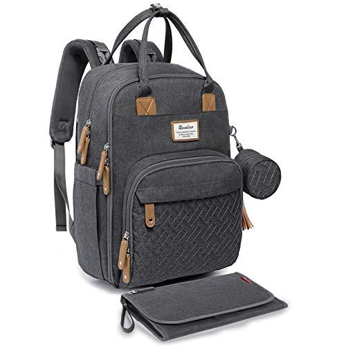RUVALINO Baby Wickelrucksack Wickeltasche Rucksack mit tragbarer Wickelauflage, Schnullerhalter und Kinderwagengurten, Babytasche Multifunktional für Mama und Papa, Dunkelgrau