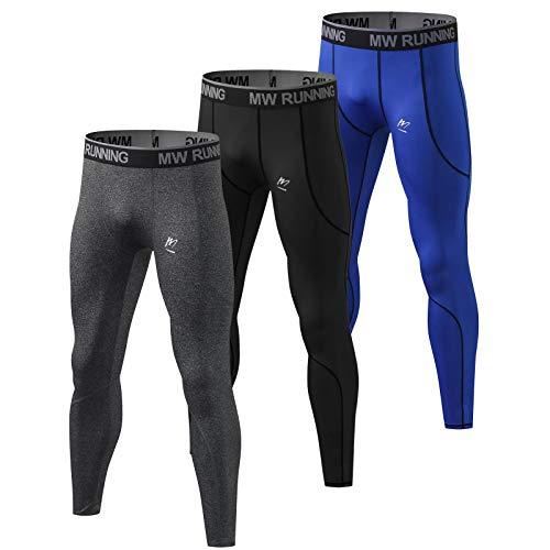 MeetHoo Kompressionhose Herren, Sport Lange Unterhose Atmungsaktiv Leggings Fitness Strumpfhosen Funktionsunterhose Männer Tights für Laufen Wandern Radfahren
