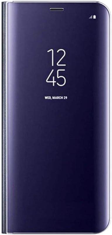 Ysimee Compatible con Fundas Xiaomi MI A2 Lite Carcasa Espejo Mirror Ultra Delgada Flip Cover Clear View Standing Cuero con Kickstand Folio Caso Cierre Magnético Móvil Protector Case,Porpora