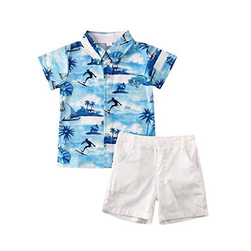 Kolylong® Jungen Hemd + Shorts Hawaiihemd Kurzarm Freizeithemd 3D Gedruckt Aloha Shirt Beachwear Strandbekleidung Kleidung Set Bekleidungssets 1-5 Jahre