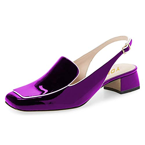 YDN Women Closed Square Toe Block Low Heels Slingback Formal Loafer Shoes Office Lady Pumps Purple 10