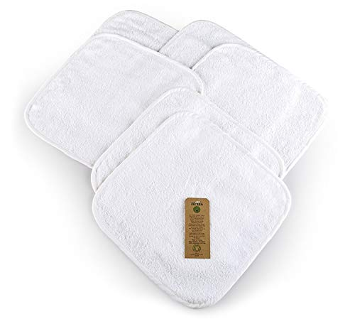 6 Toallas de Bebé, Blanco, 30x30 cm, 100% Algodón orgánico