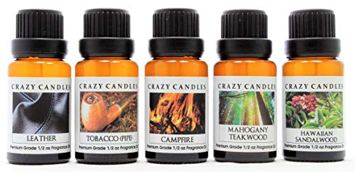 Crazy Candles 5 Bottles Set (Made in USA) 1, Hawaiian Sandalwood 1 Mahogany Teakwood 1 Tobacco (Pipe), 1 Campfire, 1 Leather 1/2 Fl Oz Each (15ml) Premium Grade Scented Fragrance Oils