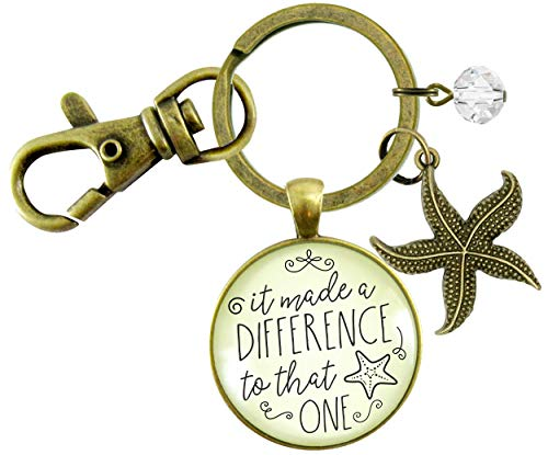 Gutsy Goodness Starfish Keychain It Made a Difference to That One Teacher Story Appreciation Gift...