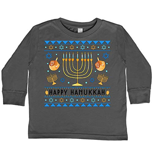 inktastic Happy Hanukkah Sweater Toddler Long Sleeve T-Shirt 2T Charcoal 3d423