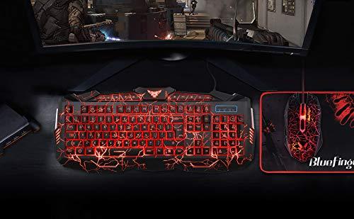 BlueFinger Backlit Gaming Keyboard and Mouse Combo,USB Wired Backlit Keyboard Mouse Game Set,Multimedia Keys,3 Color LED Crack Illumination Keyboard Mouse for Game and Work