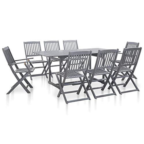vidaXL - Muebles de jardín de madera de acacia maciza, 9 piezas Juego de mesa y sillas para jardín, color gris