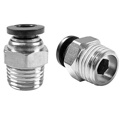 QWORK Empuje neumático recto a conexiones de conexión rápida ,G 1/4' x 6 mm , 10 piezas