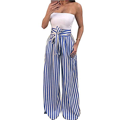 JYK-LQM Women Fashion Casual High Waist Striped Wide Leg Pants Loose Bandage Elastic Waist Trousers-Blue-L