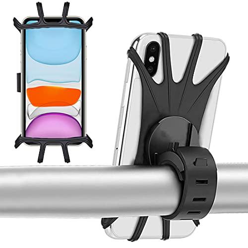 Soporte Móvil Bicicleta - Miotlsy 2Pcs Rotación 360°Ajustable Universal Silicona Montaje para Manillar de Bicicleta y Motocicleta, Adecuado para Teléfonos Móviles de 4-6,5 Pulgadas (Negro)