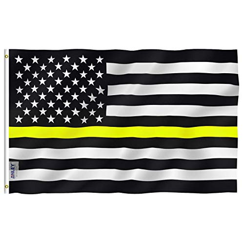Anley Fly Breeze 3x5 Foot Thin Yellow Line USA Flag - Vivid Color and UV Fade Resistant - Canvas Header and Double Stitched - Amercian Honoring Dispatchers Flags with Brass Grommets 3 X 5 Ft