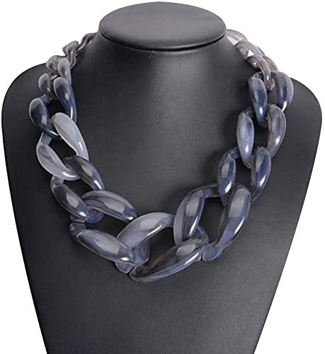 Collar De Moda para Mujer, Collar Acrílico Chunky Gargantilla Declaración De Cadena De Babero Colgantes De Resina Vintage De Plástico De Plástico Colgantes Collar Regalos,Negro