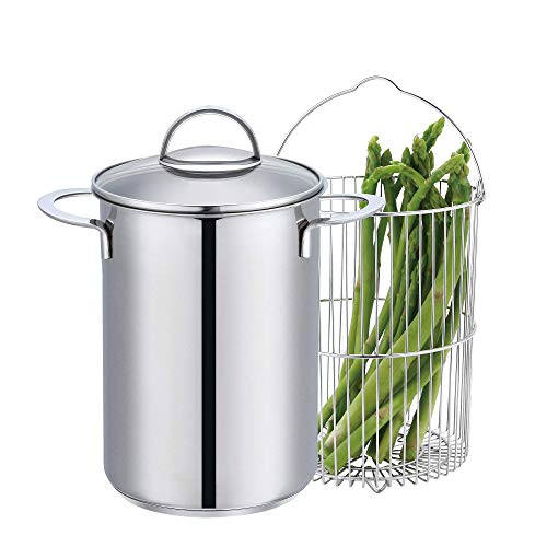 Mr. Right Vegetable Steamer Pot with Basket,Stainless Steel Asparagus Steamer with Glass Lid,4 Quart Vertical Cooker/Steamer