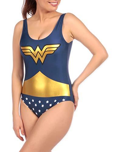 DC Comics Costume da Bagno per Donna Wonder Woman Blu Small