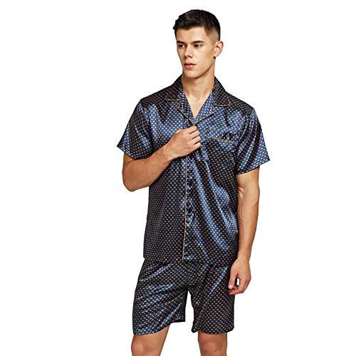 Pantalones Cortos de Pijama de Seda Satinada para Hombres Ropa de Dormir de Seda de rayón Conjunto...