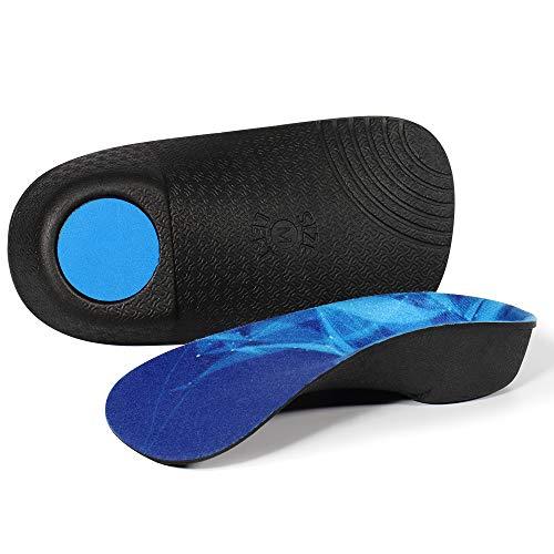 Solette per scarpe con supporto per arco plantare 3/4, inserto per scarpa metatarsale per dolore al piede, fascite plantare, arco alto, piede piatto, iperpronazione (Blu, 36/41EU)