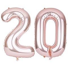 Idea Regalo - SMARCY Palloncini Gonfiabile Numero 20 Palloncini Compleanno 20 Anni Decorazioni Compleanno Oro Rosa
