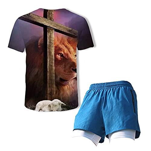 Chandal para Hombres/Camiseta De Verano con Estampado Digital + Pantalones Cortos, Traje De Dos Piezas,Ropa Deportiva Traje De Competición para Hombre (M-3XL) blue2-L