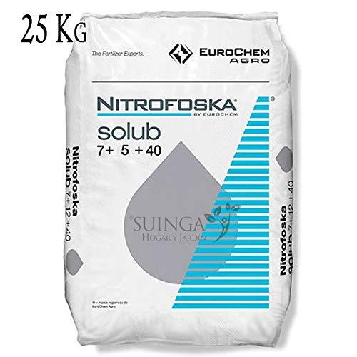 ABONO soluble Fertilizante Nitrofoska 7-5-40. Saco de 25 Kg. Recomendado para la maduración de cultivos. 7% Nitrógeno, 5% Fósforo, 40% Potasio, 19% Azufre